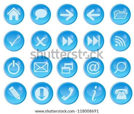 Icon set for web. Raster Version.