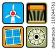 Icon set of alternative energy sources: wind power, solar energy and heating, and hydroelectricity - stock vector