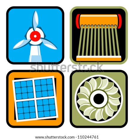 Icon set of alternative energy sources: wind power, solar energy and heating, and hydroelectricity - stock photo