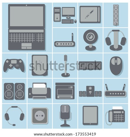 icon set of computer gadgets and devices squares collection, light blue background