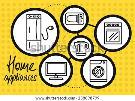 Icon set of home appliance with refrigerator, washing machine, gas stove, microwave, TV, electric kettle on yellow dotted background. Raster version - stock photo