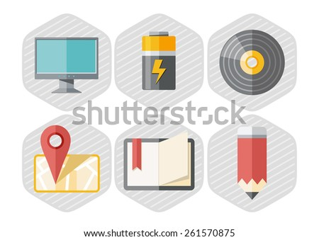 Icon set of map pointer monitor, battery, pencil, notebook in flat design style isolated on white background. Raster version - stock photo