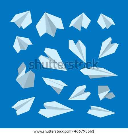 icon set of Origami plane collection. Handmade paper plane isolate on dark background