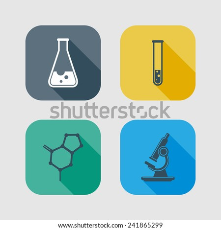 icon set of science signs. flat design with long shadows  - stock photo