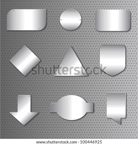 icon set of silver plates on metallic background