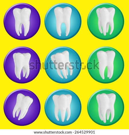 Icon set of teeth on the circle , 3d render yellow background - stock photo
