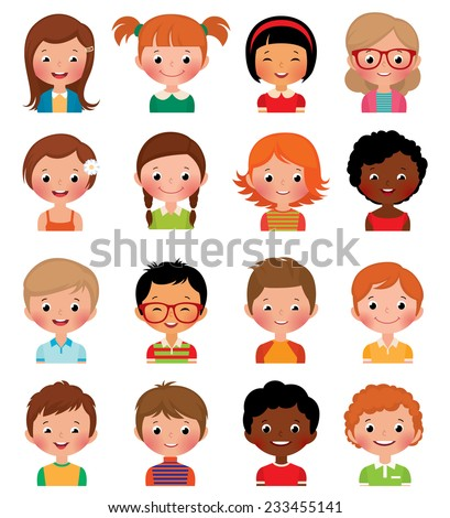 Icon set portraits of boys and girls isolated on white background/Set of avatars of different boys and girls/Illustration set of different avatars of boys and girls on a white background - stock photo