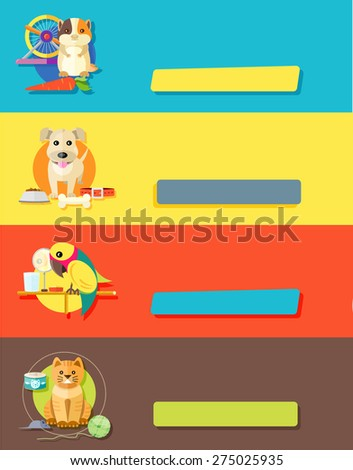 Icon set with home animals silhouettes of pets on multicolor stylish banners. Hamster, parrot, cat and dog in flat design cartoon style. Raster version - stock photo
