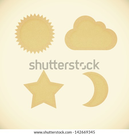 Icon star,sun,moon,cloud,recycled papercraft on vintage tone  background - stock photo