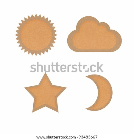 Icon star,sun,moon,cloud,recycled papercraft on white background