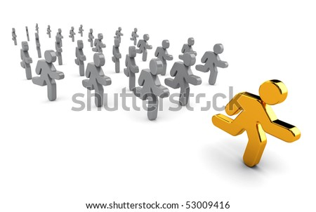 Icon style businessman running towards success. - stock photo