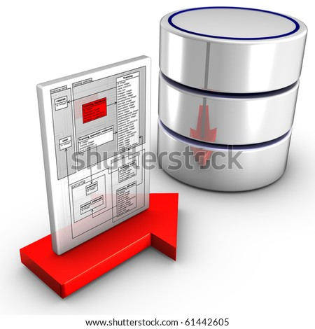 Icon symbolizing a schema import into a database - stock photo
