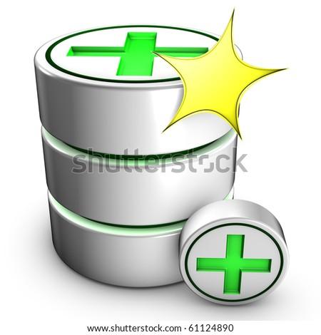 Icon symbolizing the creation of a new database. - stock photo