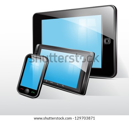 Icon, tablet , smart phone, mobile phone - stock photo