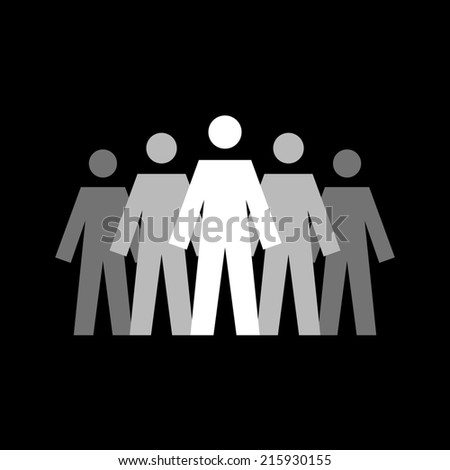 Icon team concept with figures of peoples. Leadership sign. Simple illustration for print, web