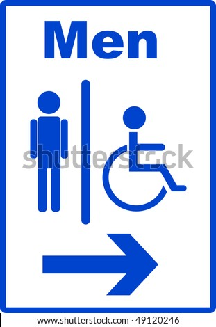 Icon with man and handicap or wheelchair person symbol