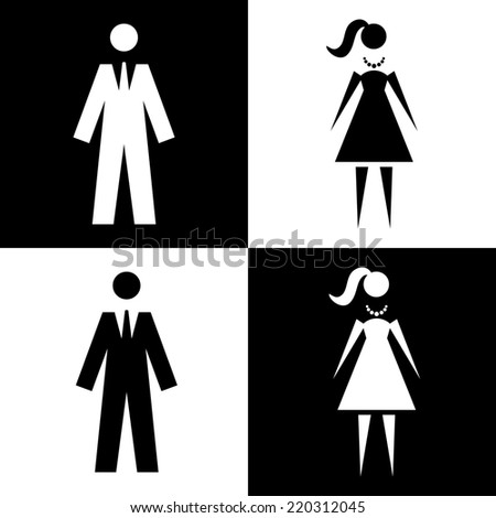 Icon with man and woman. Black and white illustration with figures of peoples. Sign for print and web - stock photo