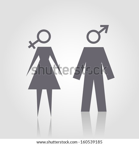 Icon with man and woman. Simple illustration with figures of peoples. Stylized silhouettes of person with gender symbols. Abstract sign for print and web  - stock photo