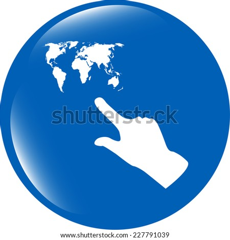 icon with people hand and world map sign. Arrows symbol - stock photo