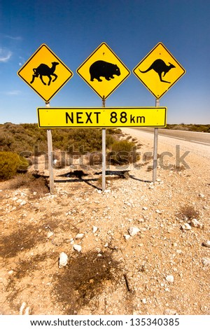 Iconic Animal Road sign in the AUstralian OUtback - stock photo