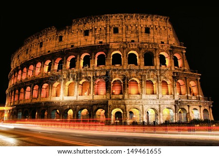 Iconic Colosseum of Rome, light up at night, Italy
