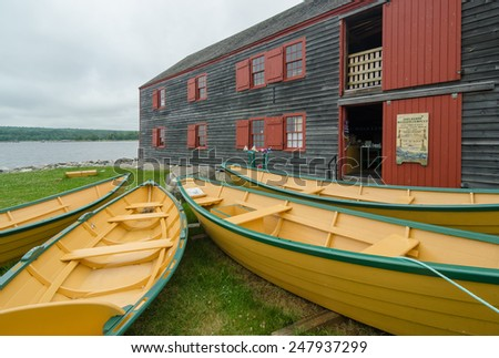 Iconic dories at the historic Shelburne County Museum on the South Shore of Nova Scotia