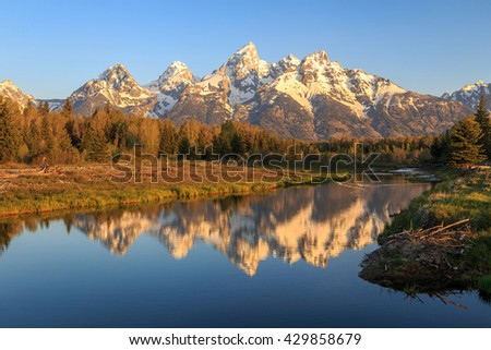 Iconic Grand Teton reflection, Wyoming, USA.