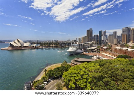 iconic landmarks of Sydney city - , circular quay, overseas passenger terminal,  summer day from elevated lookout on Harbour bridge - stock photo