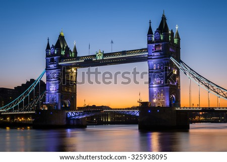 Iconic London Tower bridge during night/early morning, London, Europe