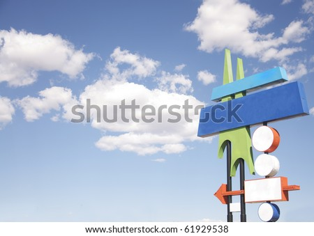 Iconic 1950's American western style motel and store signage - stock photo