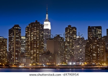 Iconic skyline of midtown Manhattan taken during the blue hour