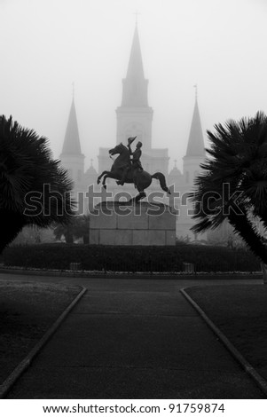 Iconic Statue on Jackson Square in New Orleans, Louisiana - stock photo
