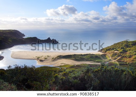 Iconic Three Cliffs Bay in South Wales