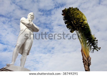 Iconic tourism symbol of Singapore, Sir Stamford Raffles Statue - stock photo