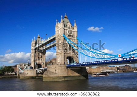 iconic tower bridge of london united kingdom - stock photo