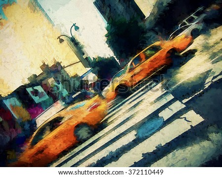 Iconic yellow taxi cabs on a busy New York City street transformed into a colorful digital painting