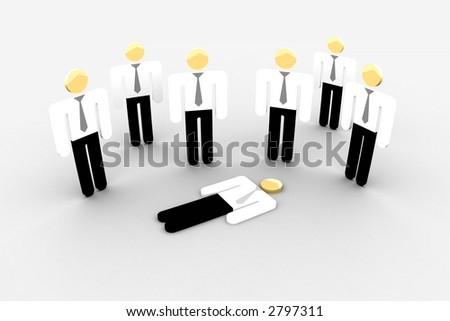 iconographic businessman-like objects, one laying on the floor - stock photo