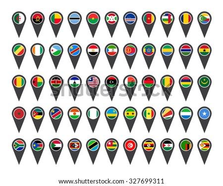 Icons African flags on white background  - stock photo