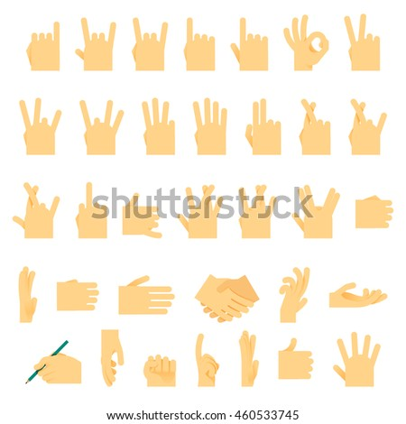 Icons and symbols, hands wrist, gestures signals signs  illustration.