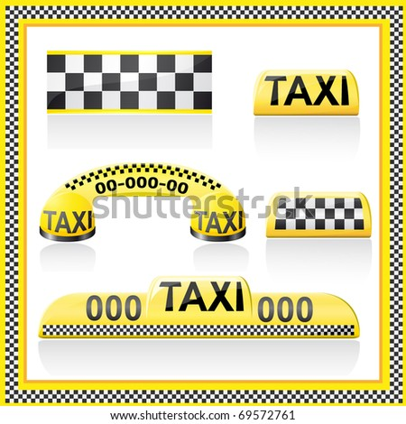 icons are symbols of taxi illustration