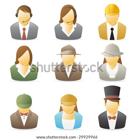 Icons collection representing various people`s occupations. set 2. - stock photo