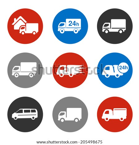 icons - delivery method, free delivery and quick delivery home, truck, car symbols - stock photo