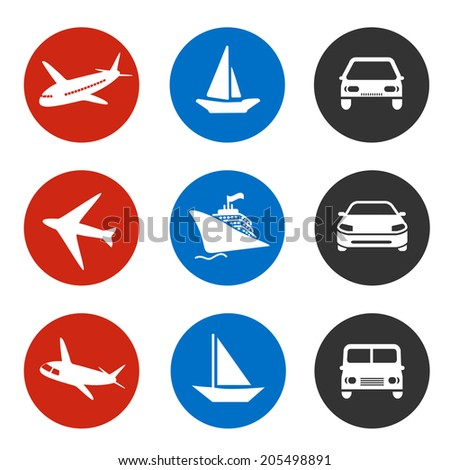 icons - delivery method or shipping on vacation - boat, plane, car - stock photo