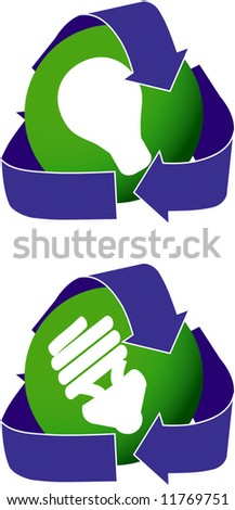 Icons depicting both two types of light bulbs. - stock photo