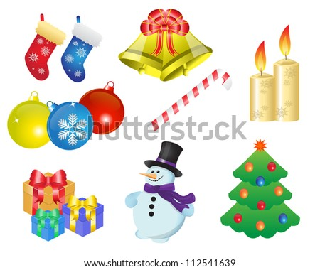 icons depicting various Christmas items and gifts - stock photo