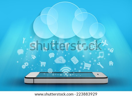 icons fall from the clouds on a mobile phone - stock photo