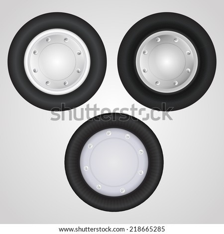 Icons for auto parts. Wheel. Set of three wheels for some vehicle or other transportation.