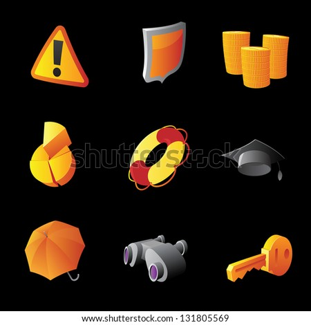 Icons for business and finance metaphor. Black background. Raster version. Vector version is also available. - stock photo