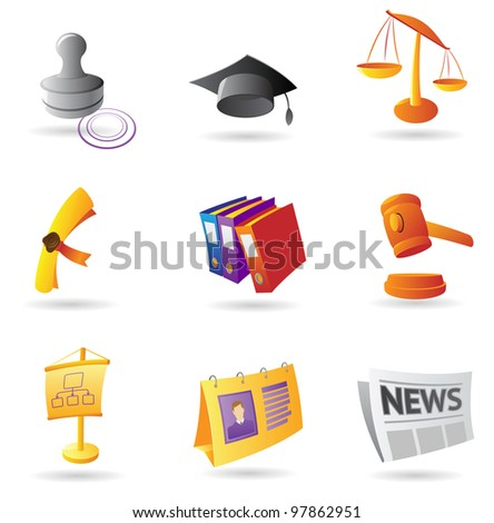 Icons for business. Raster version. Vector version is also available. - stock photo