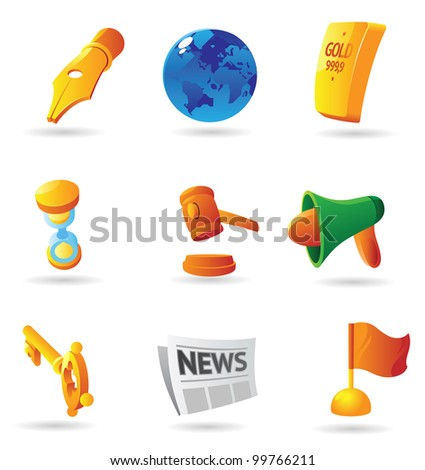 Icons for business symbols and metaphors. Raster version. Vector version is also available. - stock photo